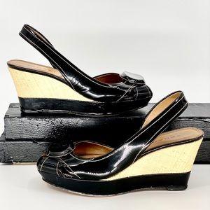 TAHARI PINNACLE-Size 6.5-Blk & Weave Peeptoe Shoe